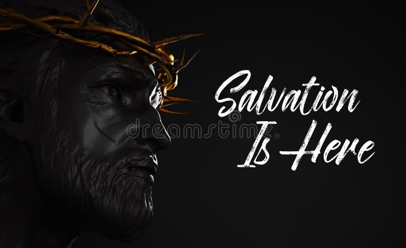 La salvación está aquí Jesus Christ Statue con la corona del oro de espinas ilustración del vector