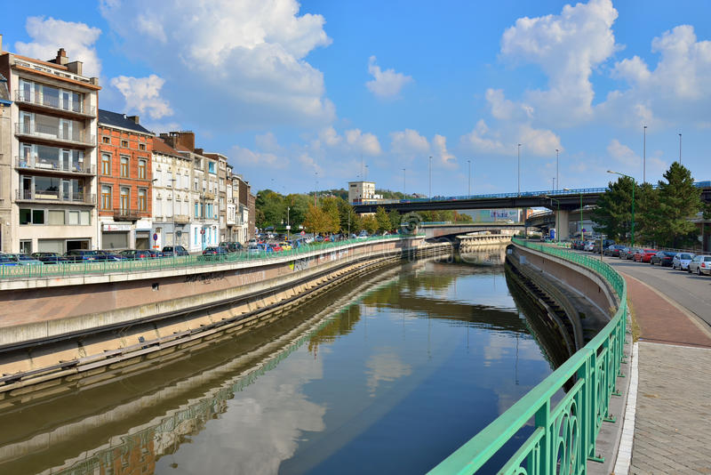 La Sambre river cross Liege royalty free stock photos