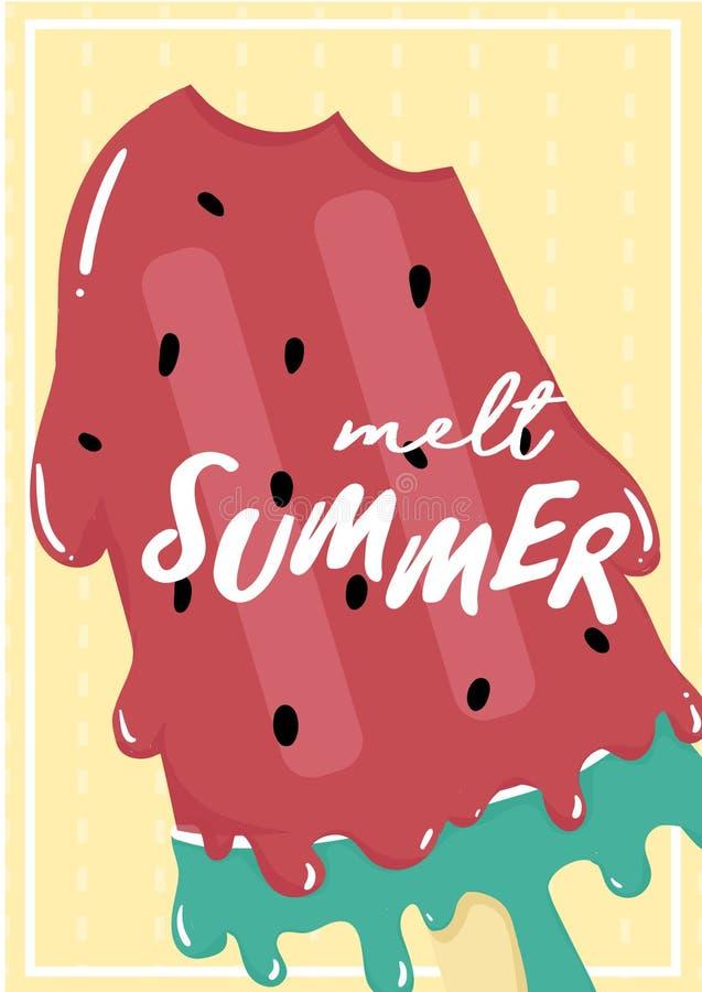 La sandía roja dulce linda derritió la tarjeta de verano del polo del helado con el texto del verano del derretimiento libre illustration