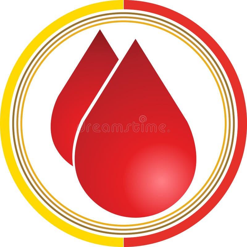 La sangre cae insignia stock de ilustración