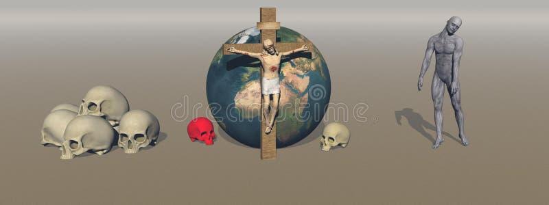 La sangre de los crímenes de la religión en el mundo - representación 3d ilustración del vector
