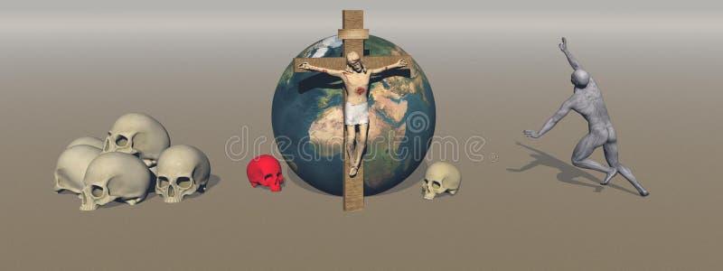 La sangre de los crímenes de la religión en el mundo - representación 3d stock de ilustración