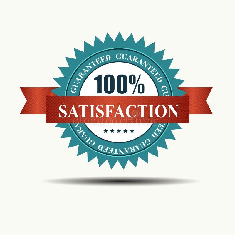 La satisfaction 100% de vecteur a garanti la rétro étiquette illustration de vecteur