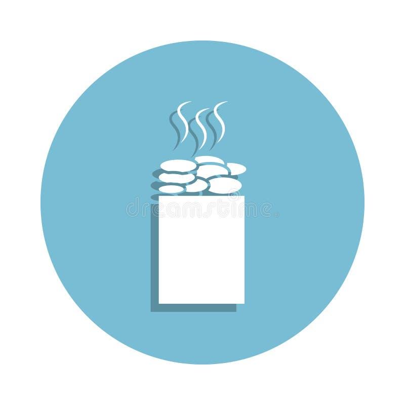 la sauna empiedra el icono en estilo de la insignia Uno del icono de la colección del cuarto de baño se puede utilizar para UI, U stock de ilustración