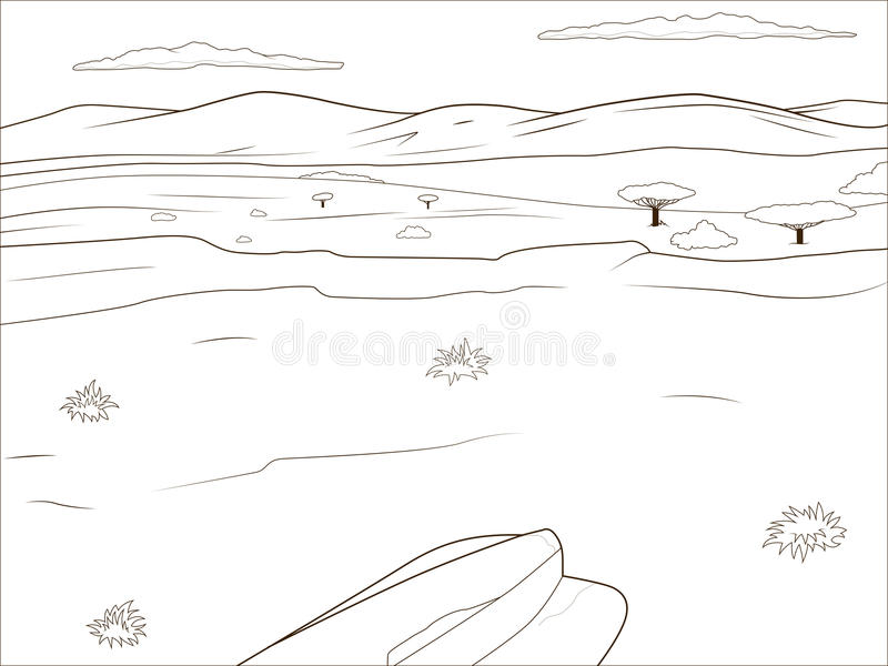 La savane éducative d'Africain de livre de coloriage de jeu illustration libre de droits