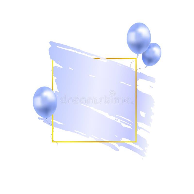 La sbavatura blu-chiaro della pittura di vettore nel telaio quadrato dorato ha isolato, con i palloni, il modello in bianco festi illustrazione di stock