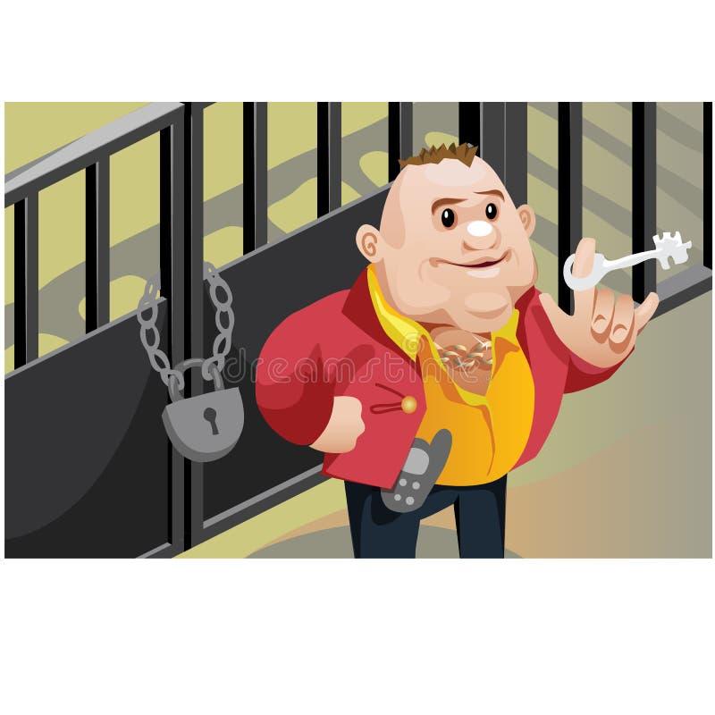La scène créative, homme d'affaires frais ferme à clef la porte illustration libre de droits
