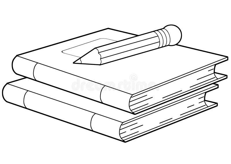 La scène de bande dessinée avec des carnets ou des livres et crayon a isolé le vecteur illustration libre de droits