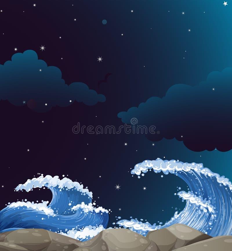 La scène de fond avec le géant ondule la nuit illustration stock