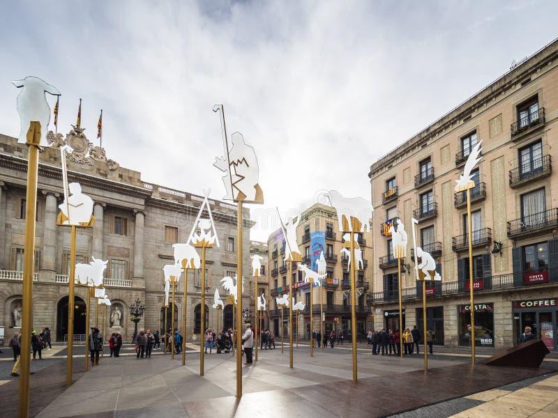 La sc?ne de nativit? en place de Sant Jaume photographie stock libre de droits