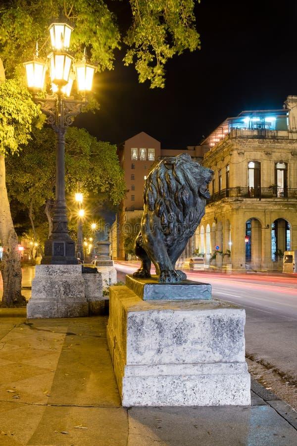 La scène de nuit à vieille La Havane avec un lion en bronze célèbre a considéré un symbole de la ville photographie stock libre de droits