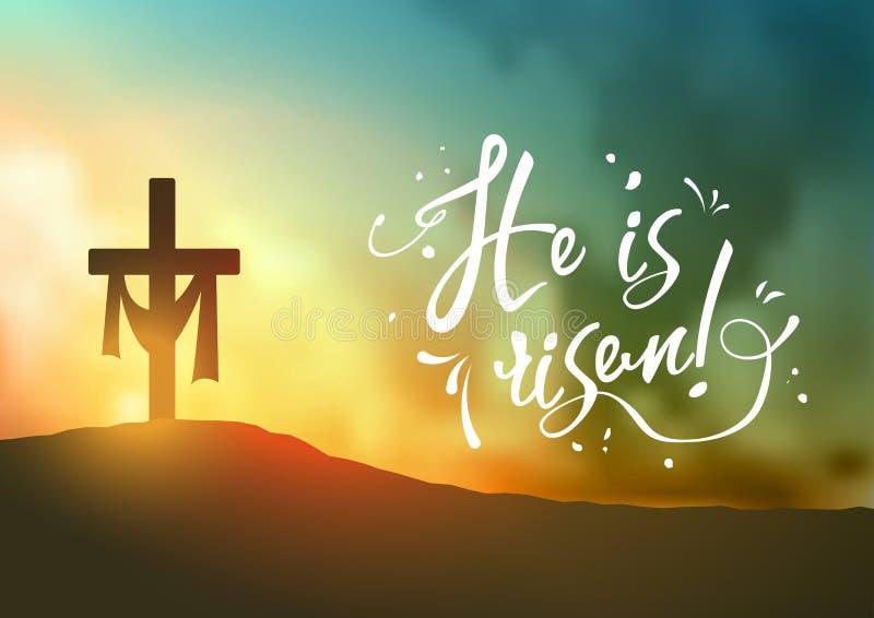 La scène de Pâques de chrétien, croix du ` s de sauveur sur la scène dramatique de lever de soleil, avec le texte il est levé, il illustration stock