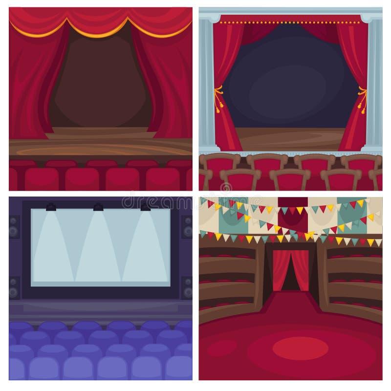 La scène de théâtre ou l'opéra et les rideaux en vecteur d'étape de cinéma drape illustration stock