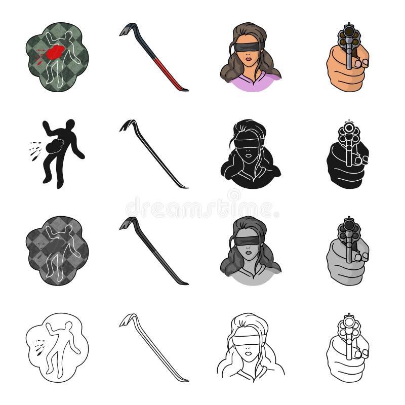 La scène du crime, chute, crochet, otage de fille, a dirigé l'arme à feu à disposition Icônes réglées de collection de crime dans illustration stock