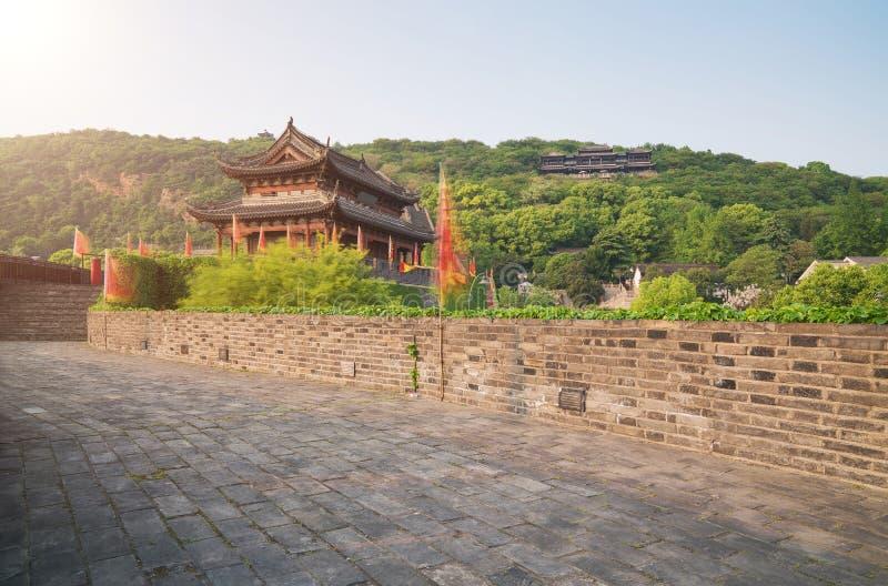 La scène du mur de ville antique de Suzhou Chine images libres de droits