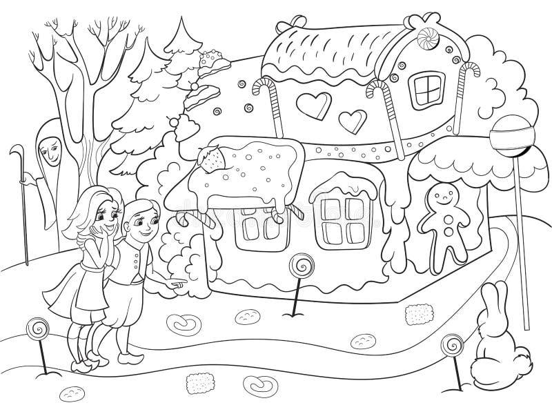 La scène enfantine d'histoire de vecteur de coloration avec des paires d'enfants mangeant quelques bonbons s'approchent du cottag illustration libre de droits