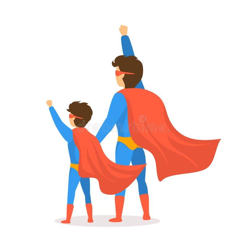 La scène heureuse de vue de postérieur de bande dessinée d'illustration de vecteur de jour de pères avec le papa et le fils s'est illustration stock