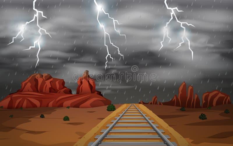 La scène occidentale sauvage de tempête illustration libre de droits