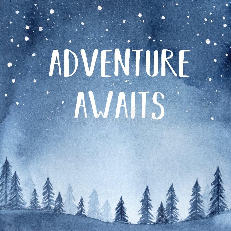 """La scène sereine avec l'expression inspirée """"aventure attend """", les arbres et la silhouette de montagne, ciel étoilé rougeoyant illustration de vecteur"""