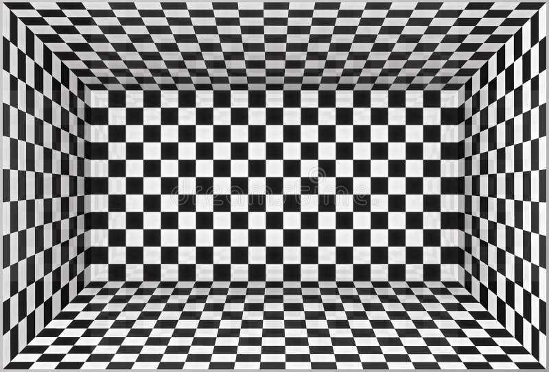 La scacchiera in bianco e nero mura il fondo della stanza illustrazione di stock
