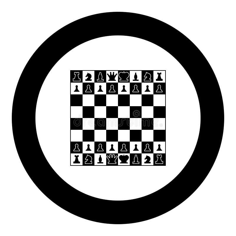 La scacchiera ed i pezzi degli scacchi allineano le figure colore del nero dell'icona nel cerchio rotondo royalty illustrazione gratis