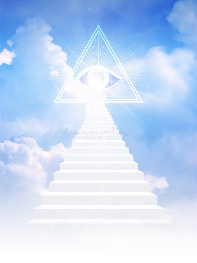 La scala di Jacob conduce al simbolo del freemason illustrazione vettoriale