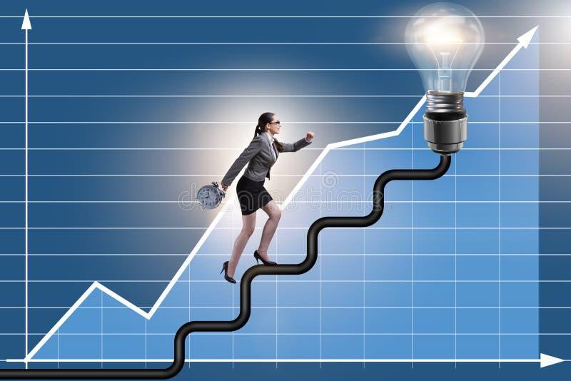 La scala rampicante di carriera della donna di affari verso la lampadina fotografie stock libere da diritti