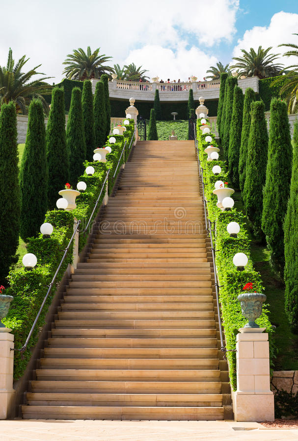 La scala vuota in Bahai fa il giardinaggio, Haifa, Israele immagine stock libera da diritti