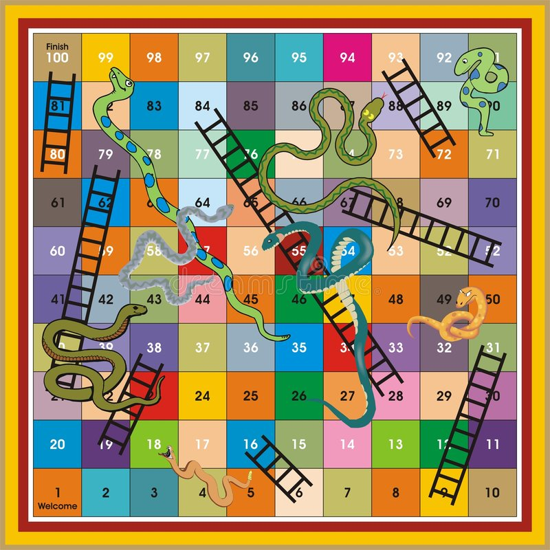 La scaletta del serpente Ludo-Stampa & gioca fotografia stock