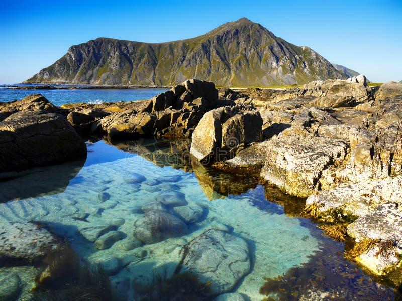 La Scandinavia, Norvegia, paesaggio irregolare nordico, isole di Lofoten fotografie stock