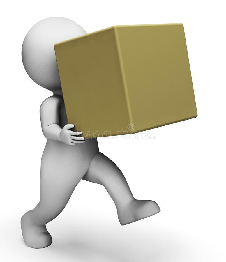 La scatola di carattere rappresenta la consegna della consegna e la rappresentazione dei prodotti 3d royalty illustrazione gratis