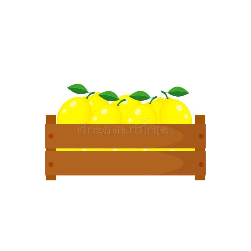 La scatola di legno con i limoni vector l'illustrazione isolata sul BAC bianco illustrazione vettoriale