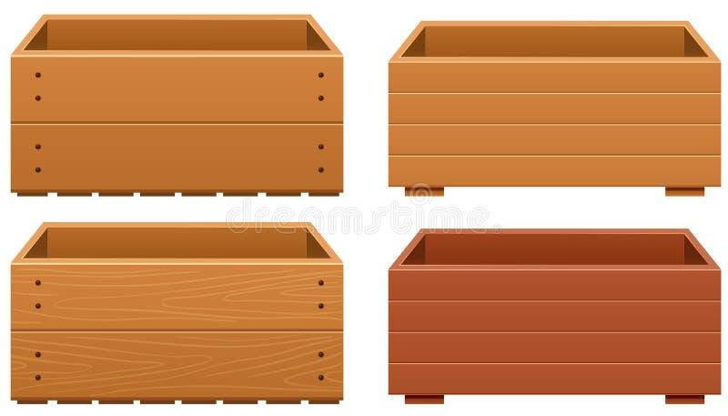 La scatola di legno progetta con struttura differente di legno illustrazione di stock