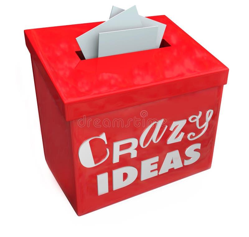 La scatola di suggerimento pazza di idee presenta Imposible irregolare divertente Impr royalty illustrazione gratis