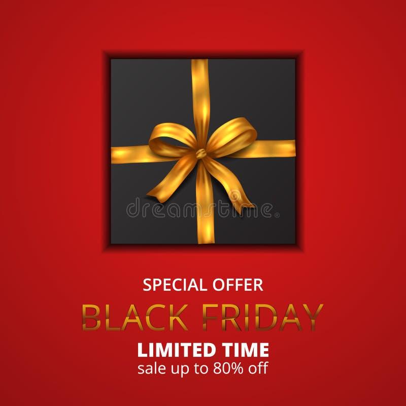 La scatola regalo del Venerdì nero presenta un nastro d'oro e uno sfondo rosso illustrazione di stock