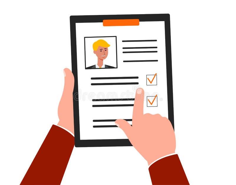 La scelta dell'impiegato o del candidato che cerca l'illustrazione piana di vettore ha isolato illustrazione di stock