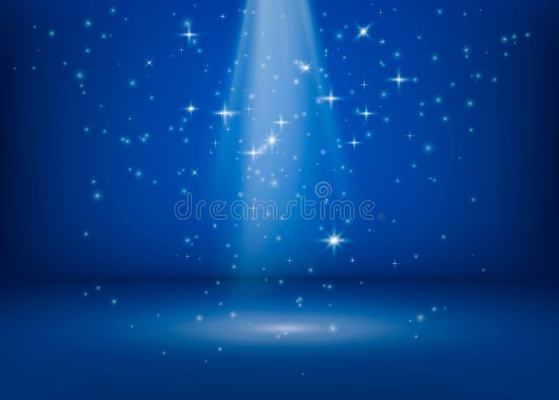 La scena è accesa da un proiettore Luci luccicanti brillanti Punto brillante di miracolo magico Lo scintillio Stars il fondo Vett royalty illustrazione gratis