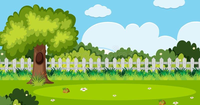 La scena del fondo con l'albero ed il bianco recintano il giardino illustrazione di stock