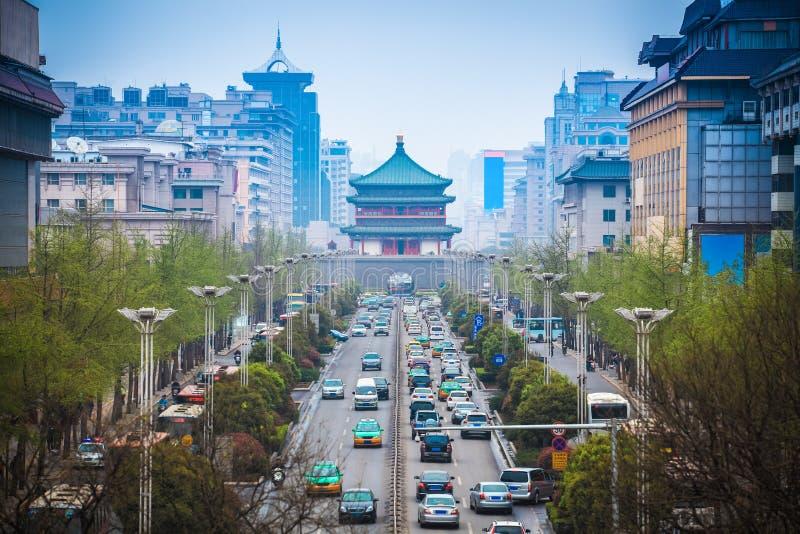 La scena della via della città antica in xian fotografie stock