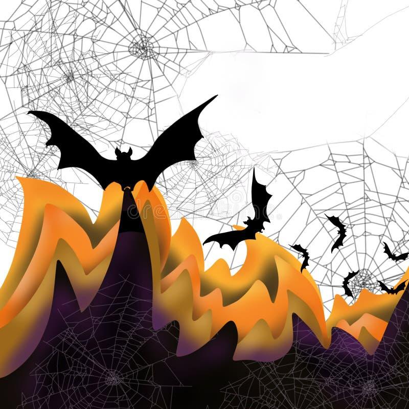 La scena di caduta di Halloween 3D di colore di sovrapposizione mette a strati le ragnatele, i pipistrelli spettrali, spazio per  illustrazione di stock