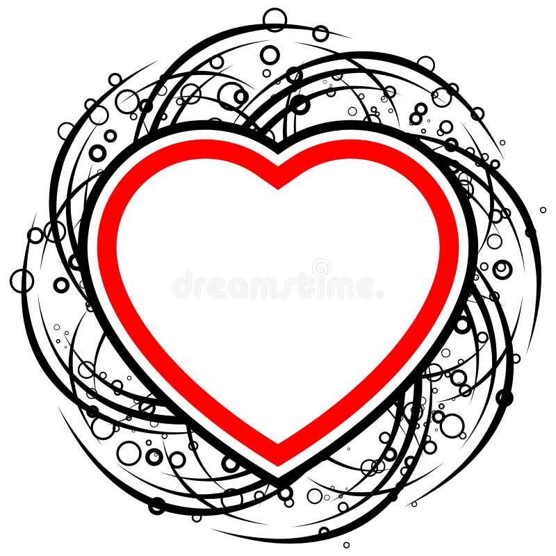 La scheda astratta del biglietto di S. Valentino con i rotoli, i cerchi ed il cuore modellano - illustrazione vettoriale