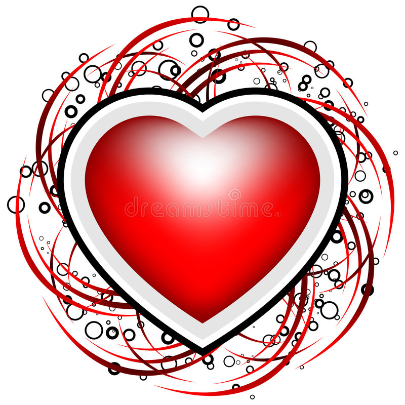 La scheda astratta del biglietto di S. Valentino con i rotoli, i cerchi ed il cuore modellano - royalty illustrazione gratis