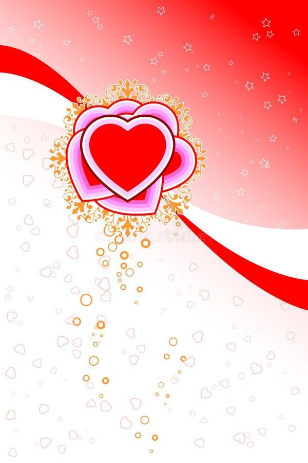 La scheda astratta del biglietto di S. Valentino della st con il cuore dei fiori modella le stelle e illustrazione vettoriale