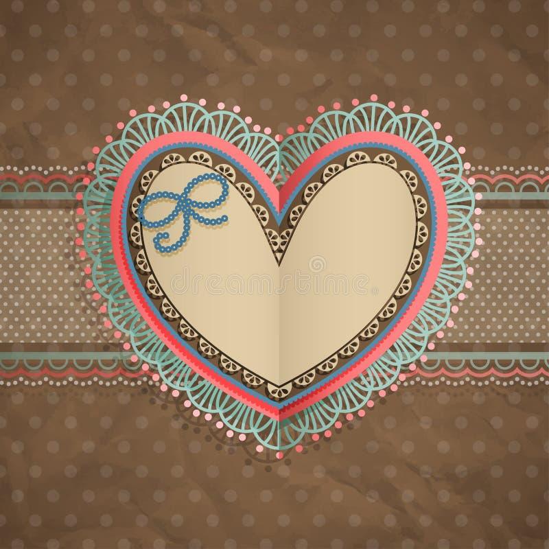 La scheda del merletto dell'annata di giorno del `s del biglietto di S. Valentino con sente illustrazione di stock