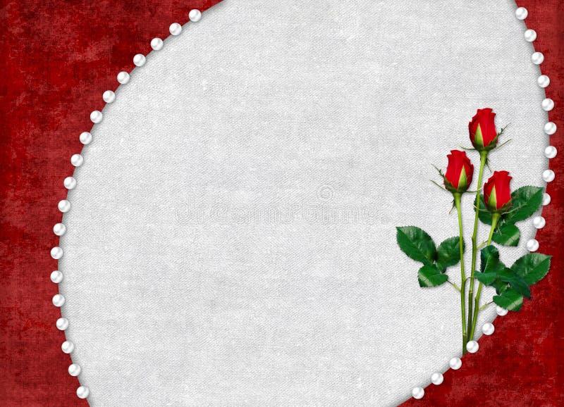 La scheda per la festa con colore rosso è aumentato illustrazione vettoriale