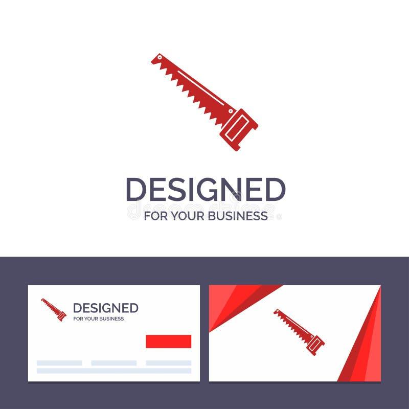 La scie de visite de calibre créatif de carte de visite professionnelle et de logo, main, a offert, construction, outils dirigent illustration stock