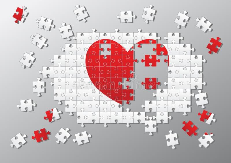 La scie sauteuse rapièce le coeur cassé illustration de vecteur