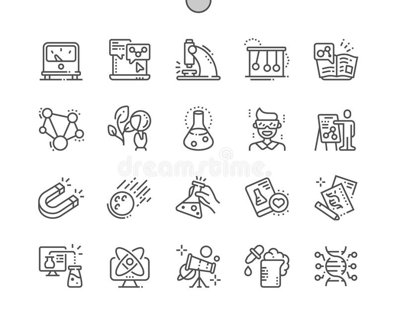 La Science Bien-a ouvré la ligne mince de vecteur parfait de pixel la grille 2x des icônes 30 pour des graphiques et Apps de Web illustration stock