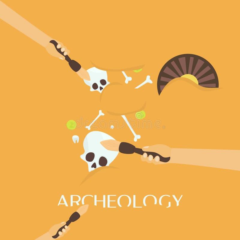 La science d'archéologie Fossiles antiques Découverte d'une cruche, objets façonnés de chasseurs de trésor illustration stock