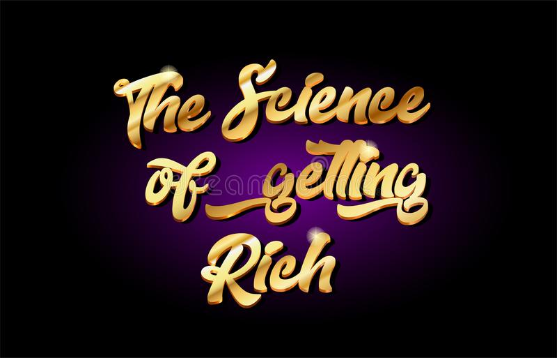 la science d'obtenir à or 3d riche l'icône d'or de logo en métal des textes illustration stock